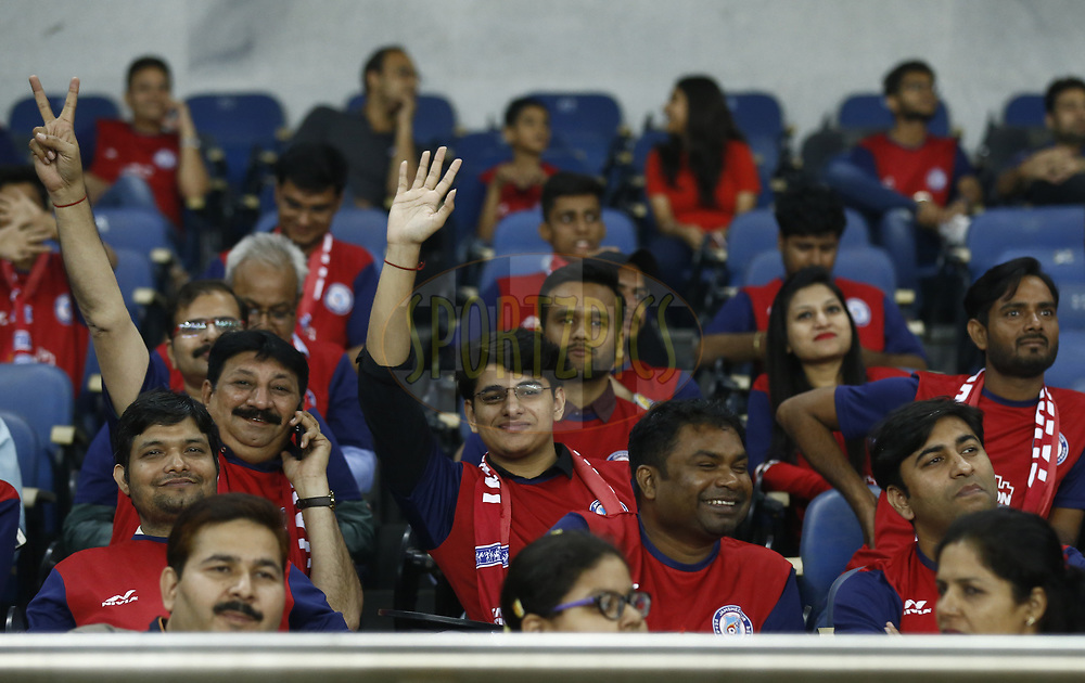 Fans during match 28 of the Hero Indian Super League 2018 ( ISL ) between Delhi Dynamos FC  and Jamshedpur FC  held at Jawaharlal Nehru Stadium, New Delhi, India on the 4th November 2018<br /> <br /> Photo by: Arjun Singh /SPORTZPICS for ISL