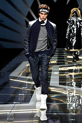Models on the catwalk during the Frankie Morello Fashion Show in Milan