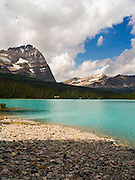Beautiful, remote Lake O'Hara with Mount Odoray in the left background, Yoho National Park, near Field, British Columbia, Canada