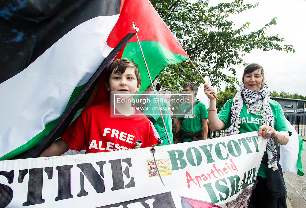 Supporters of the Scottish Palestine Solidarity Campaign demonstrated against Israel's participation in the FIL Rathbones Women's 2015 U19 lacrosse world championships in Edinburgh today. Protests are planned for the team's games against Korea, New Zealand, Finland and the US in the coming four days in the leafy area or Peffermill. Jay Bathgate (12) has a friend who he calls regularly in Gaza and it was hearing the background noises of bombing and screams that heightened his concern for the area.<br /> <br /> © Ger Harley/ StockPix.eu