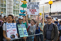London, UK. 20 September, 2019. Thousands of students and climate activists take part in the second Global Climate Strike in protest against a lack of urgent action by the UK Government to combat the global climate crisis. The Global Climate Strike grew out of the Fridays for Future movement and is organised in the UK by the UK Student Climate Network.