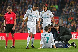 May 6, 2018 - Barcelona, Catalonia, Spain - suffers from an injury after scoring a goal Cristiano Ronaldo during the match between FC Barcelona and Real Madrid CF, played at the Camp Nou Stadium on 06th May 2018 in Barcelona, Spain.  Photo: Joan Valls/Urbanandsport /NurPhoto. (Credit Image: © Joan Valls/NurPhoto via ZUMA Press)