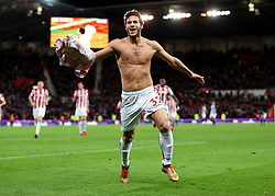 Stoke City's Ramadan Sobhi celebrates scoring his side's third goal of the game