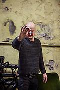 Switzerland, Zurich: swiss artist Roland Roos and his swiss Rubik's cube