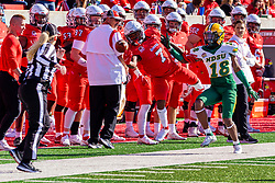 NORMAL, IL - October 16: Courtney Eubanks commits pass interference on receiver Jabari Khepera  during a college football game between the NDSU (North Dakota State) Bison and the ISU (Illinois State University) Redbirds on October 16 2021 at Hancock Stadium in Normal, IL. (Photo by Alan Look)