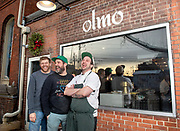 Photo by Mara Lavitt<br /> January 22, 2019<br /> New Haven, CT<br /> <br /> Olmo restaurant (also Olmo Kitchen). Co-owners from left: Jason Sobocinski, Craig Hutchinson, Alex Lishchynsky outside the restaurant.
