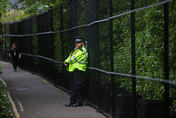 © Licensed to London News Pictures.  10/06/2021. St Ives, UK. Police are seen surrounding the Tregenna Castle in Carbis Way, Cornwall as major roads have been closed due to the G7 summit starting today. About 6,500 police officers secure a meeting of world leaders with over 5,000 from all over the country. Estimated cost of policing is £70m. Photo credit: Marcin Nowak/LNP