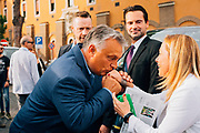 Hungary Prime Minister Viktor Orbán and Giorgia Meloni during Atreju 2019 event on September 20, 2019 in Rome, Italy. Christian Mantuano / OneShot