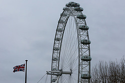 © Licensed to London News Pictures. 07/01/2019. London, UK. General view of the Coco Cola London Eye which is closed for it's annual maintenance refurbishment. The popular tourist attraction is 135m/443ft high and there are 32 capsules attached to the wheel will re-open on 23rd January 2019. The London Eye is Europe's tallest cantilevered observation wheel and over 3.75 million visitors visits the London Eye annually. Photo credit: Dinendra Haria/LNP