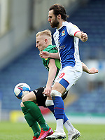 Birmingham City's Kristian Pedersen shields the ball from Blackburn Rovers' Ben Brereton<br /> <br /> Photographer Rich Linley/CameraSport<br /> <br /> The EFL Sky Bet Championship - Saturday 8th May 2021 - Blackburn Rovers v Birmingham City - Ewood Park - Blackburn<br /> <br /> World Copyright © 2021 CameraSport. All rights reserved. 43 Linden Ave. Countesthorpe. Leicester. England. LE8 5PG - Tel: +44 (0) 116 277 4147 - admin@camerasport.com - www.camerasport.com