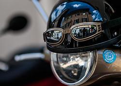 17.06.2017, Stadtplatz, Zell am See, AUT, Vespa Alp Days, im Bild Spiegelung in einem Motorradhelms // Reflection in a motorcycle helmet during the annual Vespa Alp Days at the Marketplace, Zell am See, Austria on 2017/06/17. EXPA Pictures © 2017, PhotoCredit: EXPA/ JFK
