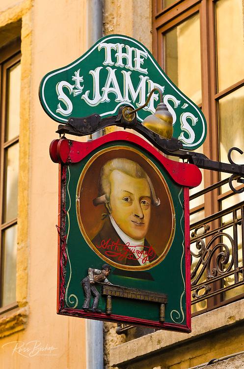 St. James Pub in old town Vieux Lyon, France (UNESCO World Heritage Site)