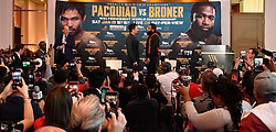 Nov 11-20-18. Los Angeles, CA. Senator Manny ''Pacman'' Pacquiao, boxing's only eight-division world champion talks during a Los Angeles press conference on his upcoming fight with Adrien Broner Tuesday. The two will fight in Jan 19,2019 in Las Vegas at the MGM and PPV on showtime..Photo by Gene Blevins/ZumaPress. (Credit Image: © Gene Blevins/ZUMA Wire)