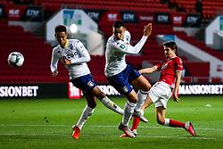 Adam Nagy of Bristol City shoots as Jacob Ramsey and Anwar El Ghazi of Aston Villa challenge - Rogan/JMP - 24/09/2020 - Ashton Gate Stadium - Bristol, England - Bristol City v Aston Villa - Carabao Cup Third Round.