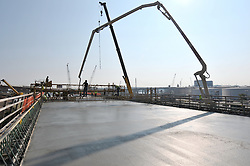 Pearl Harbor Memorial Bridge, New Haven Harbor Crossing Corridor. CT DOT Contract B1 Project No. 92-618 Progress Photography. Northbound West Approaches. Sixth on site photo capture of once every four month chronological documentation. Concrete deck pour, Ramp I.
