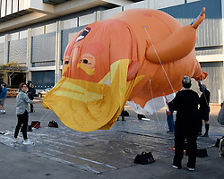 October 19, 2018 - Los Angeles, California, U.S. - A giant balloon depicting President Trump as an angry baby makes its West Coast debut at Politicon in downtown Los Angeles. The baby Trump balloon will fly outside of the Los Angeles Convention Center. The baby balloon shows Trump in a diaper with a scowl on his face while he holds a cellphone. It's the fourth year for the political convention, which features politicians, pundits, celebrities and journalists from all sides of the political spectrum. (Credit Image: © Gene Blevins/ZUMA Wire)