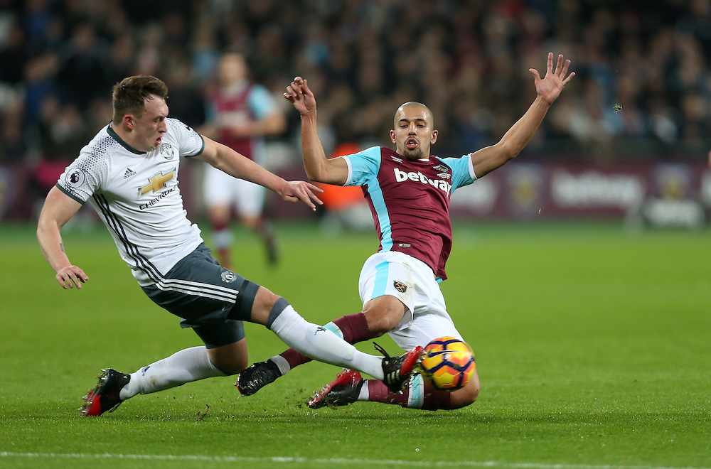 West Ham United's Sofiane Feghouli with a flying challenge on Manchester United's Phil Jones which earned him a red card<br /> <br /> Photographer Rob Newell/CameraSport<br /> <br /> The Premier League - West Ham United v Manchester United - Monday 2nd January 2017 - London Stadium - London<br /> <br /> World Copyright © 2017 CameraSport. All rights reserved. 43 Linden Ave. Countesthorpe. Leicester. England. LE8 5PG - Tel: +44 (0) 116 277 4147 - admin@camerasport.com - www.camerasport.com