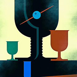 Vintage Cocktail Hour Poster Design illustration in forties style with silhouetted glass shapes and cherry cocktail stick