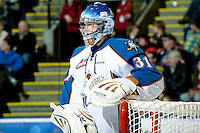 KELOWNA, CANADA, NOVEMBER 25: Nathan Lieuwen #31 of the Kootenay Ice stands in front of the net as the Kootenay Ice visit the Kelowna Rockets  on November 25, 2011 at Prospera Place in Kelowna, British Columbia, Canada (Photo by Marissa Baecker/Shoot the Breeze) *** Local Caption *** Nathan Lieuwen;