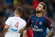 Paris Saint Germain's Brazilian forward Neymar Jr reacts during the French Championship Ligue 1 football match between Paris Saint-Germain and Girondins de Bordeaux on September 30, 2017 at the Parc des Princes stadium in Paris, France - Photo Benjamin Cremel / ProSportsImages / DPPI