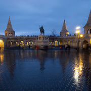 BUDAPEST, HUNGARY - DECEMBER 07:  A general view of  Fisherman's bastions and the statue of Saint Stephen on December 7, 2017 in Budapest, Hungary. The traditional Christmas market and lights will stay until 31st December 2017.