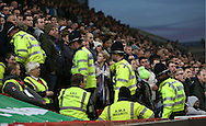 Police, stewards and fans during the English Premier League match at the Bet 365 Stadium, Stoke on Trent. Picture date: December 17th, 2016. Pic Simon Bellis/Sportimage