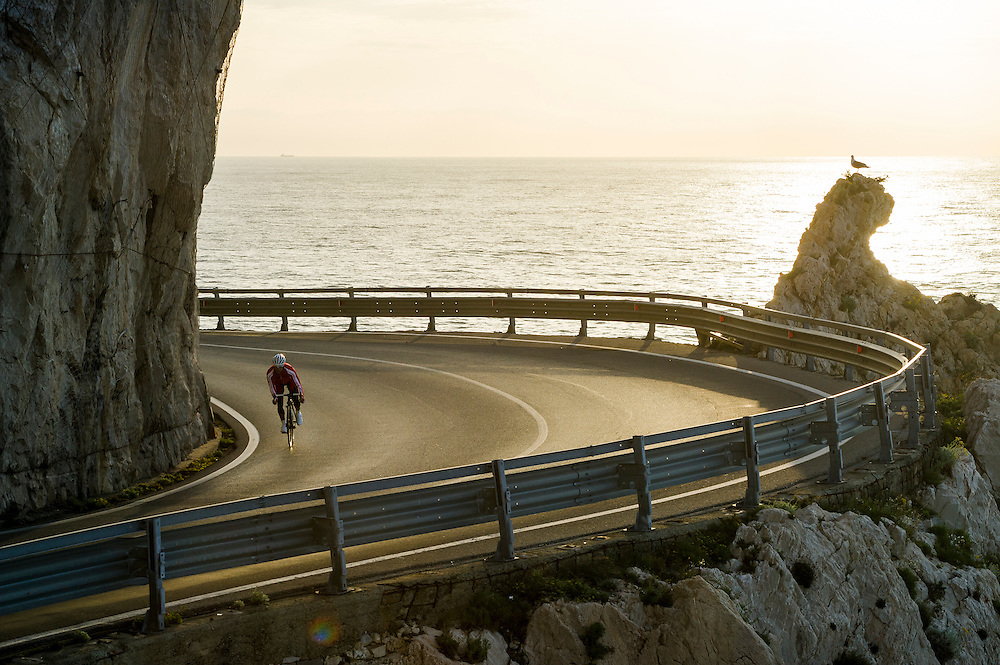 James Brickell, dawn ride, Finale Ligure, Italy.