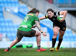 Jade Konkel of Harlequins attempts a tackle on Lauren Cattell of Exeter Chiefs - Mandatory by-line: Andy Watts/JMP - 06/02/2021 - Sandy Park - Exeter, England - Exeter Chiefs Women v Harlequins Women - Allianz Premier 15s