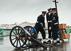 © under license to London News Pictures.  14/11/2010. The gun is prepared in front of Brighton Pier to mark the 2 minutes silence for the Rememberance Day service held in the Old Steine, Brighton.