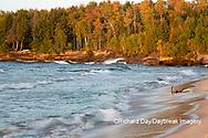 64795-03409 Lake Michigan shore at sunset Alger Co. MI