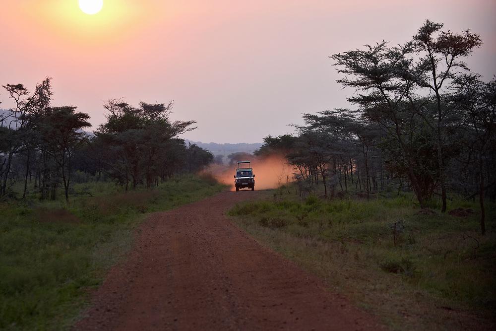Range Rover safari vehicle  at sunset on dirt road in Tanzania, Africa
