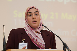 """© under licence to London News Pictures. LONDON, 21/05/2011. Hiba Aburewein of the European Forum on Muslim Women appearing at conference """"Confronting Anti-Muslim Hatred in Britain and Europe"""". London Muslim Centre. Photo credit should read BETTINA STRENSKE/LNP"""