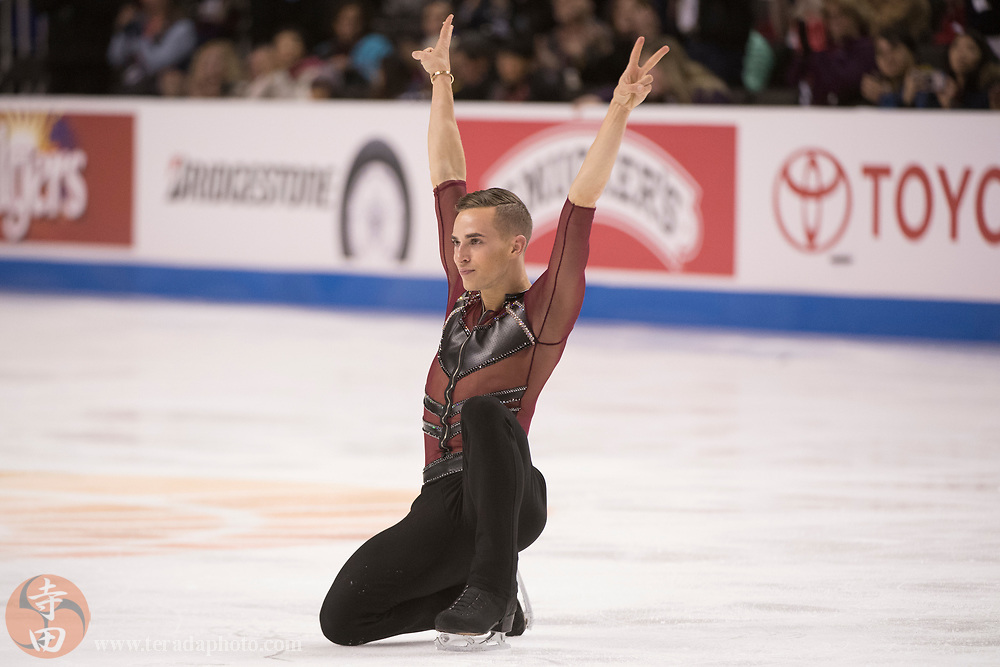January 4, 2018; San Jose, CA, USA; Adam Rippon performs in the mens short program during the 2018 U.S. Figure Skating Championships at SAP Center.
