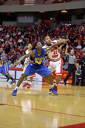 06 December 2008: Kenneth Faried fights for position for a rebound with Kellen Thornton during a game where the  Illinois State University Redbirds extended their record to 9-0 with a 76-70 win over the Eagles of Morehead State on Doug Collins Court inside Redbird Arena on the campus of Illinois State University in Normal Illinois