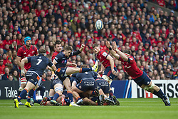 March 30, 2019 - Edinburgh, Scotland, United Kingdom - Henry Pyrgos of Edinburgh kicks the ball high during the Heineken Champions Cup Quarter Final match between Edinburgh Rugby and Munster Rugby at Murrayfield Stadium in Edinburgh, Scotland, United Kingdom on March 30, 2019  (Credit Image: © Andrew Surma/NurPhoto via ZUMA Press)