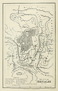 Ancient 19th century map of the City of jerusalem from the book Palestine illustrated by Sir Richard Temple, 1st Baronet, GCSI, CIE, PC, FRS (8 March 1826 – 15 March 1902) was an administrator in British India and a British politician. Published in London by W.H. Allen & Co. in 1888
