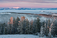 The views at sunrise were stunning from the Granite Butte fire lookout on Montana's continental divide. Red Mountain is the tallest peak on the left.