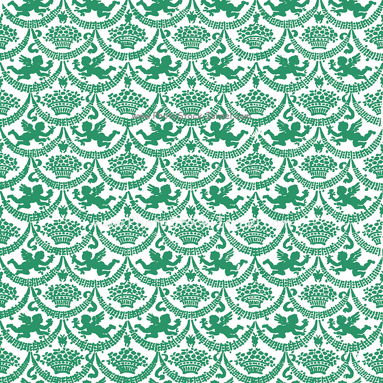 Repeating pattern of Green winged angelic cherubs