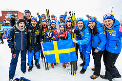 March 16, 2019 - –Stersund, Sweden - 190316 Hanna Öberg, Linn Persson, Mona Brorsson and Anna Magnusson of Sweden celebrate with Amanda Lind, Swedish minister of Sport, after  the Women's 4x6 km Relay during the IBU World Championships Biathlon on March 16, 2019 in Östersund..Photo: Petter Arvidson / BILDBYRÃ…N / kod PA / 92268 (Credit Image: © Petter Arvidson/Bildbyran via ZUMA Press)