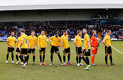 Bristol Rovers team walk out ahead of kick off - Photo mandatory by-line: Neil Brookman/JMP - Mobile: 07966 386802 - 28/03/2015 - SPORT - Football - Macclesfield - Moss Rose - Macclesfield Town v Bristol Rovers - Vanarama Football Conference