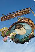 Shop Sign, Puerto Ayora Harbour, Santa Cruz Island, Galapagos Islands, Ecuador, South America
