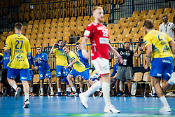 Players of RK Celje Pivovarna Lasko during handball match between RK Celje Pivovarna Lasko (SLO) and Aalborg Handbold (DEN) in Group Phase B of EHF Champions League 2020/21, on 16 September, 2020 in Arena Zlatorog, Celje, Slovenia. Photo by Grega Valancic / Sportida