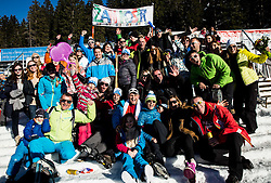 Fans of Zan Kosir (SLO) celebrate after the Parallel Giant Slalom at FIS Snowboard World Cup Rogla 2017, on January 28, 2017 at Course Jasa, Rogla, Slovenia. Photo by Vid Ponikvar / Sportida
