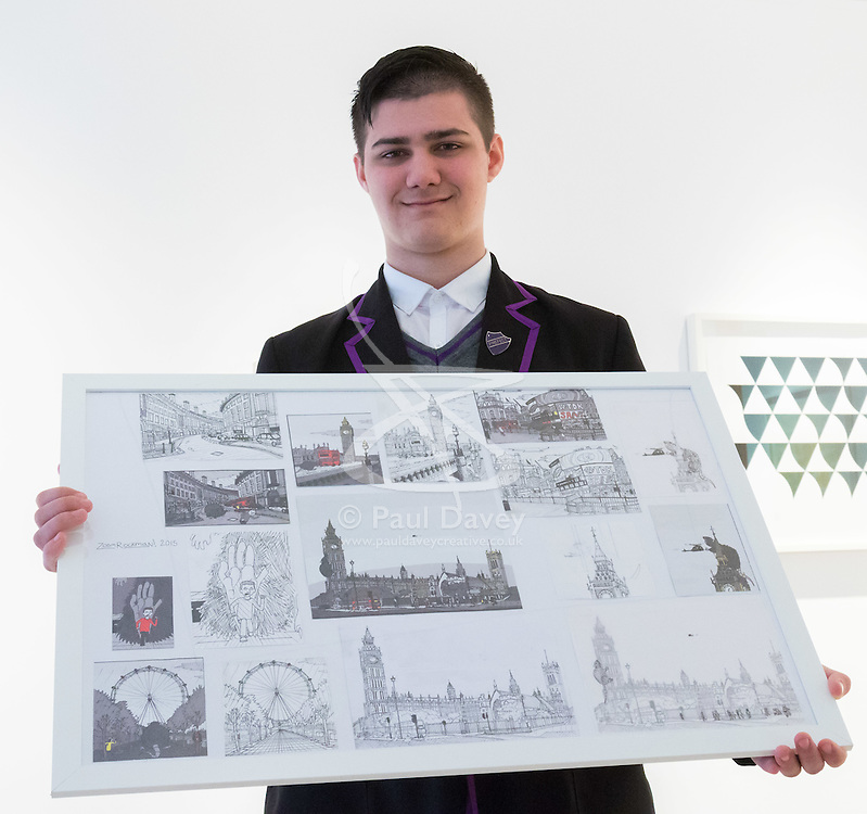 Christies, St James, London, March 4th 2016. 15 year-old Zoom Rickman, a published illustrator graphic novelist poses with his pen and ink drawings at the preview for the It's Our World charity auction at Christie's. Over 40 leading artists including David Hockney, Sir Antony Gormley, David Nash, Sir Peter Blake, Yinka Shonibare, Sir Quentin Blake, Emily Young and Maggi Hambling have committed artworks to the It's Our World Auction in support of The Big Draw and Jupiter Artland Foundation, to be sold at Christie's London on 10 March 2016.<br />  ///FOR LICENCING CONTACT: paul@pauldaveycreative.co.uk TEL:+44 (0) 7966 016 296 or +44 (0) 20 8969 6875. ©2015 Paul R Davey. All rights reserved.