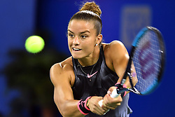 WUHAN, Sept. 28, 2017 Maria Sakkari of Greece returns the ball during the singles quarterfinal match against Alize Cornet of France at 2017 WTA Wuhan Open in Wuhan, capital of central China's Hubei Province, on Sept. 28, 2017. Maria Sakkari won 2-0.  wll) (Credit Image: © Cheng Min/Xinhua via ZUMA Wire)
