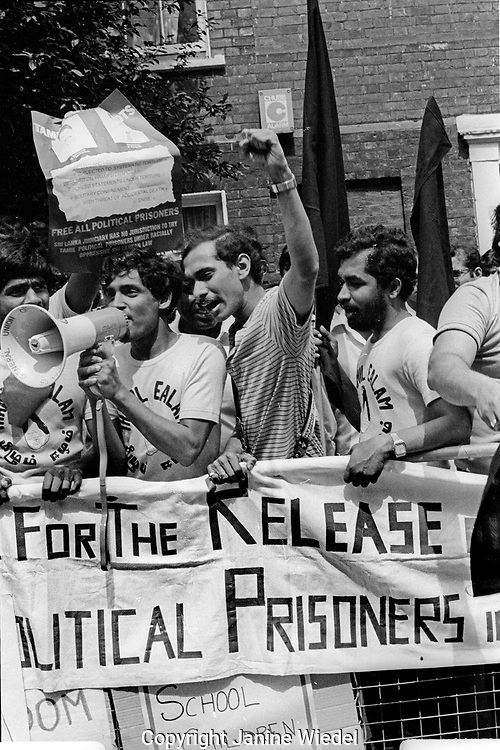 Eelam Tamil protest in London during Black July 1983 when there was a Sinhalese led anti-Tamil Pogrom, riot and masacre in Sri Lanka.   It marked the beginning of the Sri Lanken Cilvil War between Tamil militants and the Government in Sri Lanka. Over 3,000 Tamils were murdered and over 150.000 people made homeless.  Many Tamils fled to other countries forming Tamil diaspora communities.