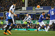 Jonjo Shelvey of Newcastle United tries a shot at goal . Barclays Premier League match, Everton v Newcastle United at Goodison Park in Liverpool on Wednesday 3rd February 2016.<br /> pic by Chris Stading, Andrew Orchard sports photography.