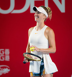 October 9, 2018 - Elina Svitolina of the Ukraine in action during her first-round match at the 2018 Prudential Hong Kong Tennis Open WTA International tennis tournament (Credit Image: © AFP7 via ZUMA Wire)