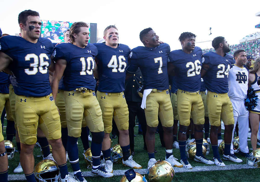 September 15, 2018:  Notre Dame players sing the Alma Mater after NCAA football game action between the Vanderbilt Commodores and the Notre Dame Fighting Irish at Notre Dame Stadium in South Bend, Indiana.  Notre Dame defeated Vanderbilt 22-17.  John Mersits/CSM.
