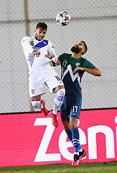 Vangelis Pavlidis of Greece vs Miha Mevlja of Slovenia during football match between National teams of Greece and Slovenia in Final tournament of Group Stage of UEFA Nations League 2020, on November 18, 2020 in Georgios Kamaras Stadium, Athens, Greece. Photo by MATTHAIOS YORGOS / INTIME SPORTS / SPORTIDA